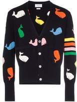 Thom Browne whale print cotton cardigan