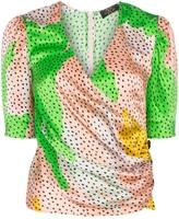 De La Vali Shanna dot-print silk wrap top
