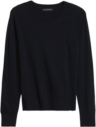 Banana Republic Petite Washable Merino Crew Sweater-Neck Sweater