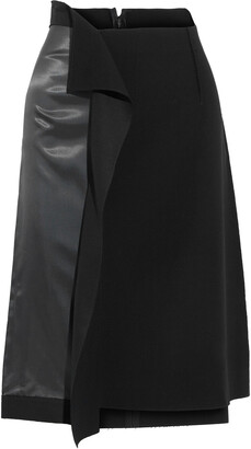 Maison Margiela Draped Paneled Satin-twill And Twill Skirt