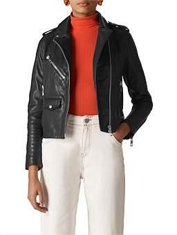 Whistles Agnes Pocket Leather Biker