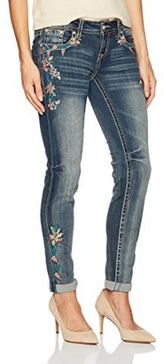 Grace in LA Women's Boho Embroidered Skinny Jeans Pants