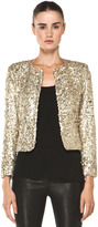 Alice + Olivia Brianna Open Front Sequin Jacket in Gold