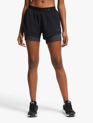 Ronhill Tech Twin Running Shorts, Black/Charcoal Marl