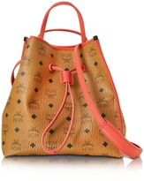 MCM Kira Visetos Medium Cognac Drawstring Bucket Bag