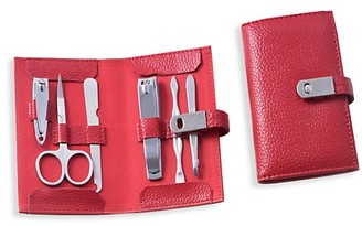 Bey-Berk 7-Piece Leather Stainless Steel Manicure Set