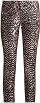 Haider Ackermann Madame skinny-leg jacquard and leather trousers