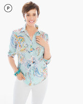 Chico's Linen Whimsy Paisley Sina Shirt