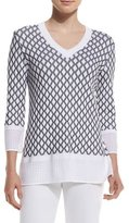 St. John Pointelle-Knit V-Neck Sweater, Bianco/Caviar