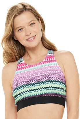 N. Women's Swimwear Print High-Neck Bust Minimizer Bikini Top