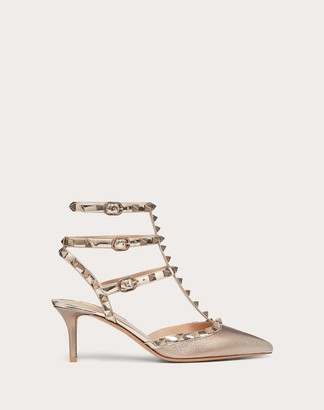 Valentino Garavani Rockstud Metallic Grainy Calfskin Leather Ankle Strap Pump 65 Mm Women Champagne Calfskin 100% 36