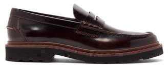 Tod's Carrarmato Leather Penny Loafers - Mens - Burgundy