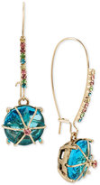 Betsey Johnson Gold-Tone Blue Stone Drop Earrings