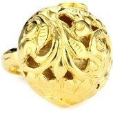 """Devon Leigh Bold Gold"""" 18k Gold Dipped Carved Ball Ring, Size 7"""