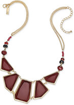 INC International Concepts Gold-Tone Burgundy Beaded Statement Necklace, Only at Macy's
