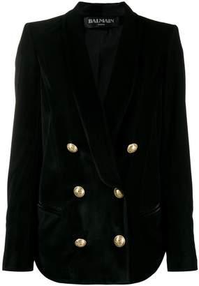 Balmain Velvet Button-Embellished Blazer