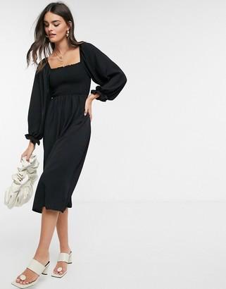 New Look shirred square neck midi dress in black