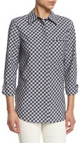Lafayette 148 New York Brody Long-Sleeve Gingham Blouse, Ink Multi