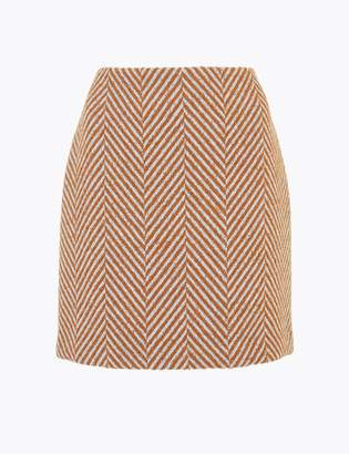 Marks and Spencer Herringbone Weave A-Line Mini Skirt