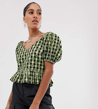 Collusion COLLUSION gingham short sleeve top