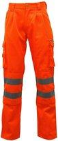 Fashion Box Mens Reflective Polycotton Hi Visibility Safety Work Trousers