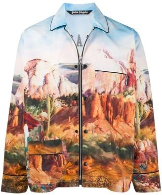 Palm Angels Canyon-Print Zip-Up Jacket