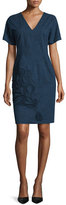 Josie Natori Short-Sleeve Embroidered Dress, Indigo