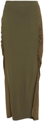 McQ Mesh-paneled Ruched Jersey Maxi Skirt