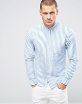 Scotch & Soda Scotch And Soda Striped Linen Shirt With Grandad Collar
