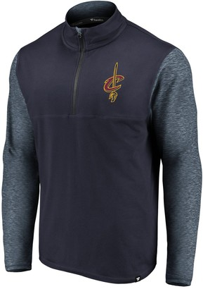 Möve Men's Fanatics Branded Navy/Heathered Navy Cleveland Cavaliers Big & Tall Made to Static Performance Quarter-Zip Pullover Jacket