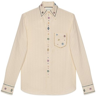 Gucci pinstripe cotton shirt with crystals