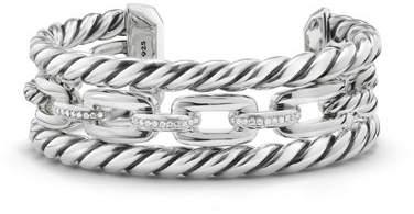 David Yurman Wellesley Sterling Silver Three-Row Cuff Bracelet with Diamonds