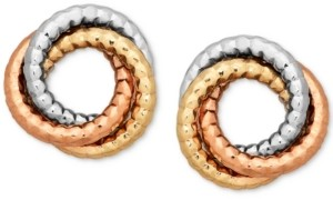 Italian Gold Tri-Color Textured Love Knot Earrings in 14k Gold, White Gold & Rose Gold