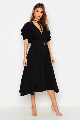 boohoo Ruffle Angel Sleeve Bolo Tie Midi Dress