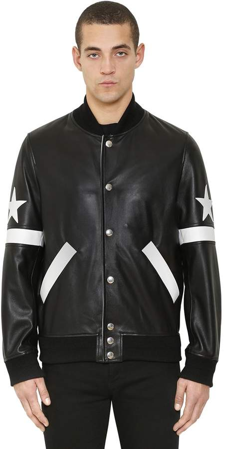 Givenchy Stars Patch Leather Bomber Jacket