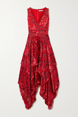 Alice + Olivia Alice Olivia - Sammi Asymmetric Fil Coupe Chiffon Dress - Red