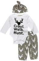Bodysuits, Bokeley Newborn Infant Baby Outfit Clothes Print Romper Tops+Long Pants +Hat Deer pattern
