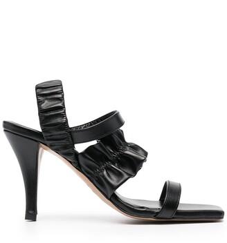 Ganni 90mm Ruffle Strap Sandals