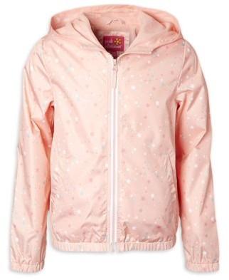 Pink Platinum Girls 4-16 Star Print Water Resistant Windbreaker Jacket with Fleece Lining