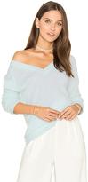 White + Warren Side Slit V Neck Sweater in Blue