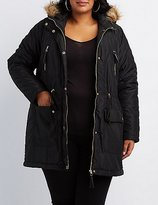 Charlotte Russe Plus Size Faux Fur-Trim Hooded Puffer Jacket