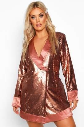 boohoo Plus Sequin Wrap Blazer Dress