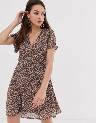 Daisy Street short sleeve mini skater dress in ditsy floral
