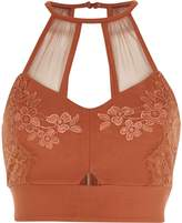River Island Womens Rust Orange lace and mesh bralet