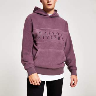 River Island Mens Purple Maison Riviera brushed hoodie