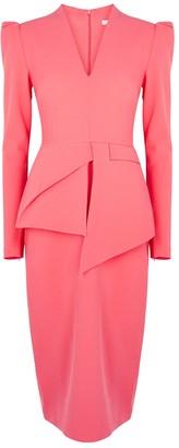 Safiyaa Tamila coral stretch-cady midi dress