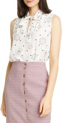 Tailored By Rebecca Taylor Sonnet Fleur Sleeveless Silk Blend Top