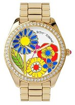 Betsey Johnson Multi-colored Floral Motif Dial Gold Bracelet Watch