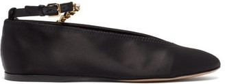 J.W.Anderson Crystal-strap Satin Ballet Flats - Black