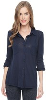 Splendid Slub Jersey Button Down Shirt